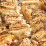 Extra Cheesy Garlic Hasselback Potato Gratin