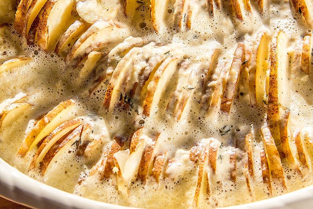 Half-Cooked Hasselback Potato Gratin