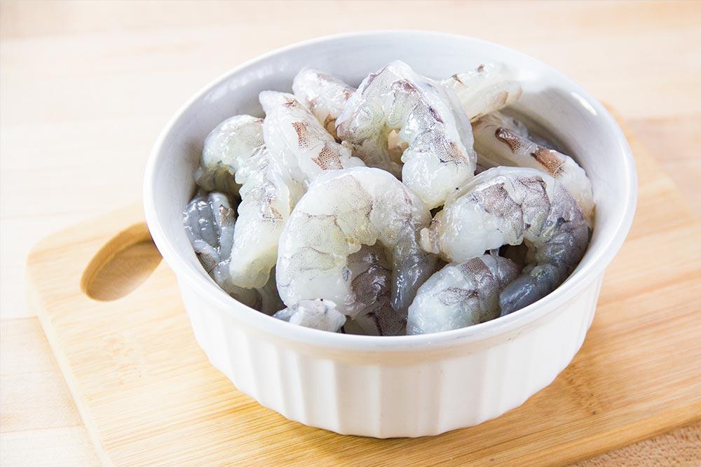 Raw Shrimp Peeled in Bowl
