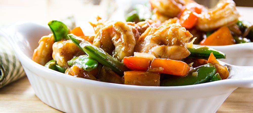 Garlic Stir-Fried Shrimp with Snap Peas & Red Bell Pepper Recipe