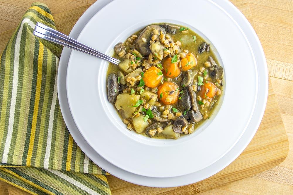 Carrot, Mushroom, Potato & Rosemary Soup