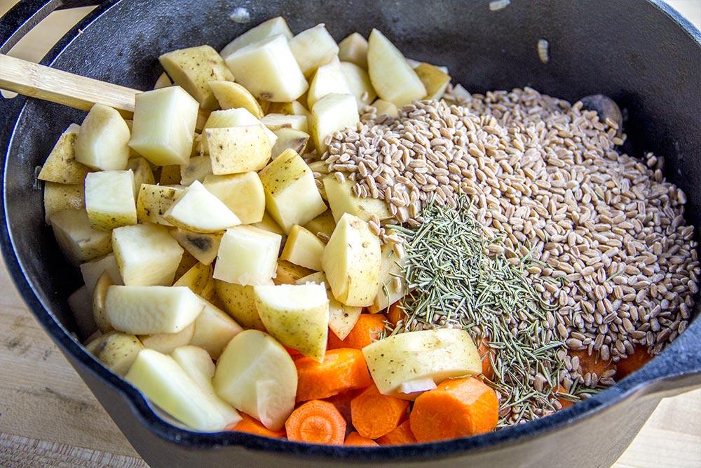 Mushroom Soup Ingredients in Dutch Oven