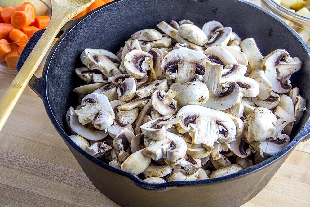 Sliced Mushroom in Dutch Oven