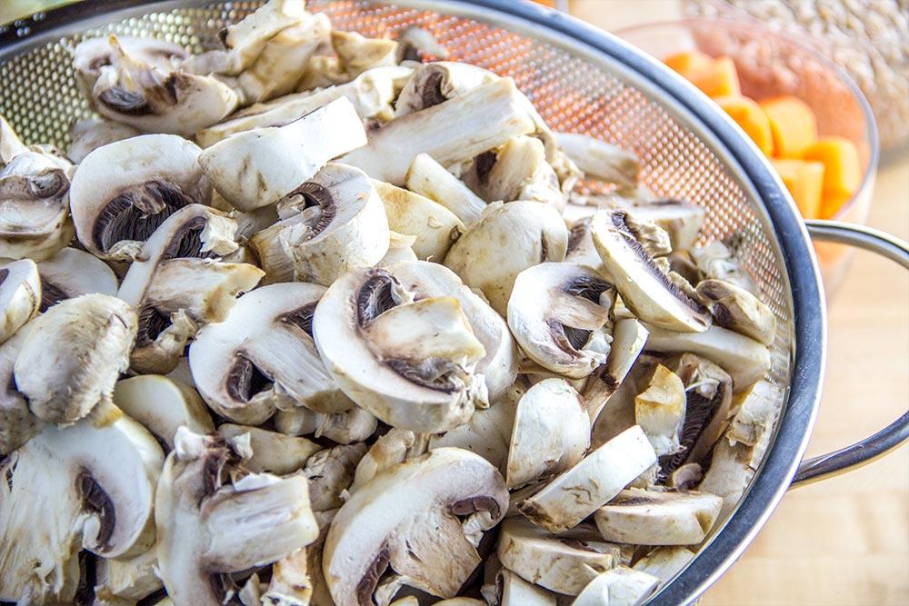 Sliced Mushrooms in BelleMain Colander