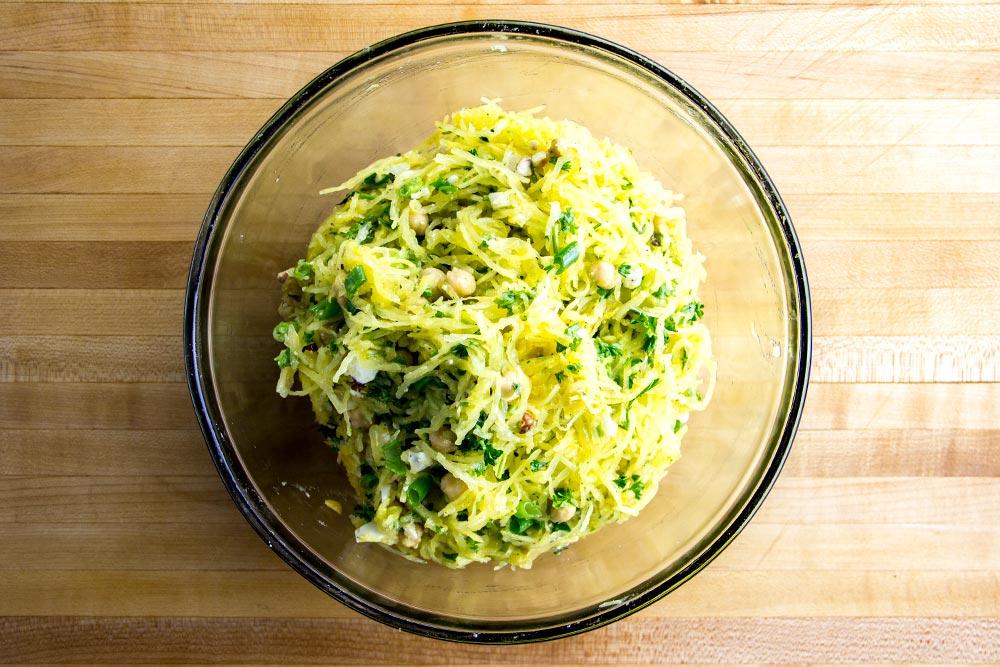 Mixing Spaghetti Squash Salad