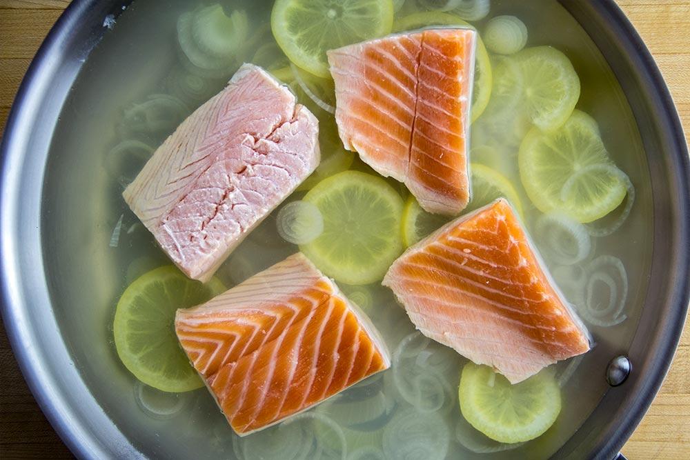 Adding Salmon to Skillet