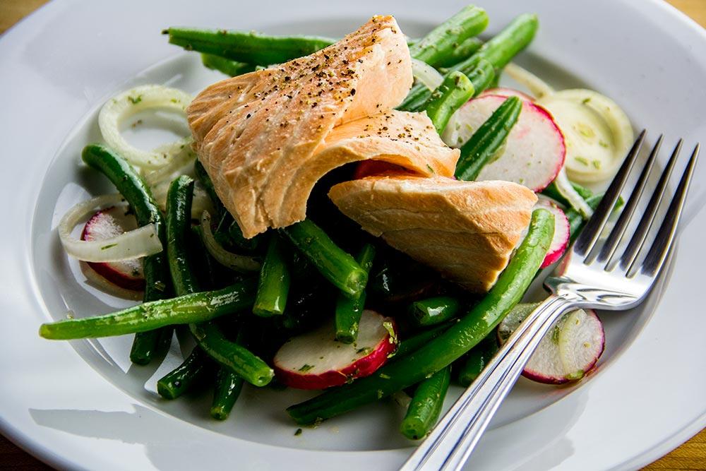 Poached Salmon with Green Bean & Radish Salad Recipe