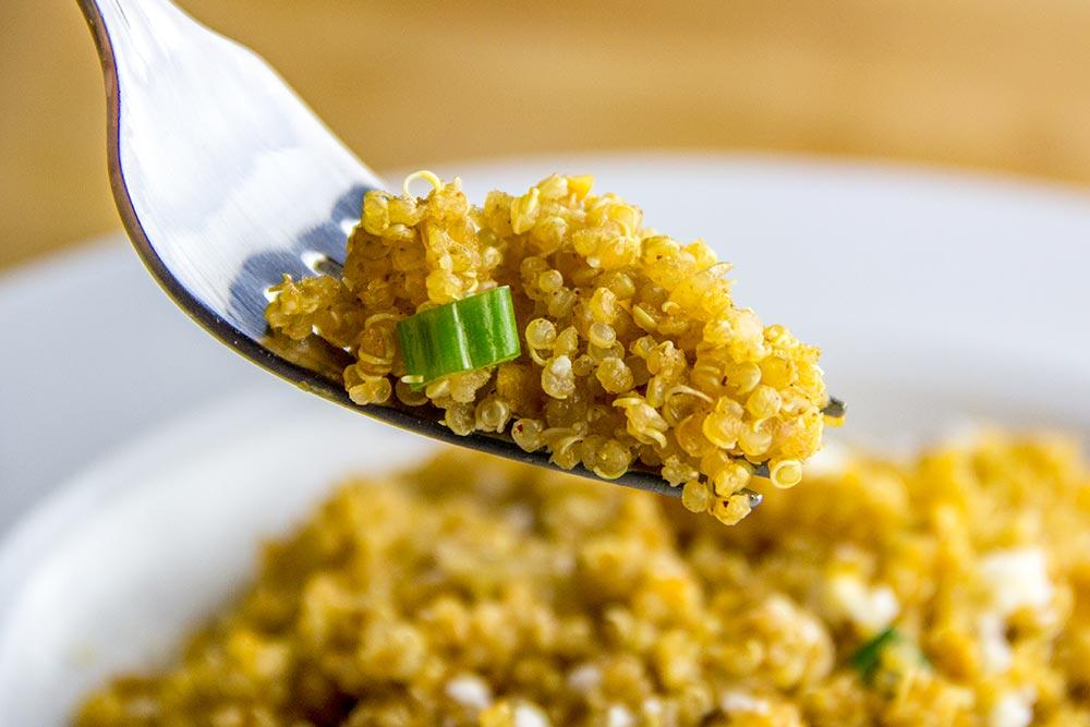 Quinoa Pilaf with Queso Fresco, Peanuts & Scallions Recipe