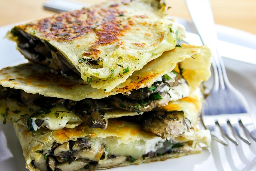 Herb, Mushroom & Goat Cheese Quesadilla Recipe