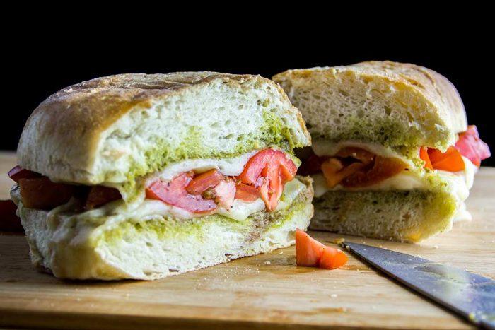 Pesto Double Grilled Cheese & Tomato Sandwich Recipe
