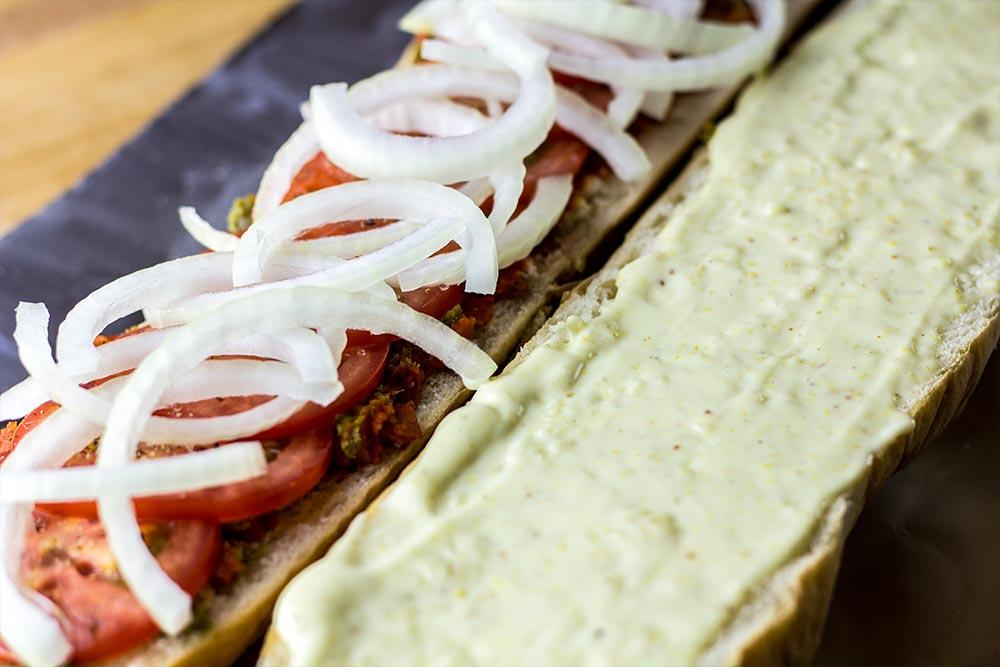 Adding Sweet Onion to Sandwich