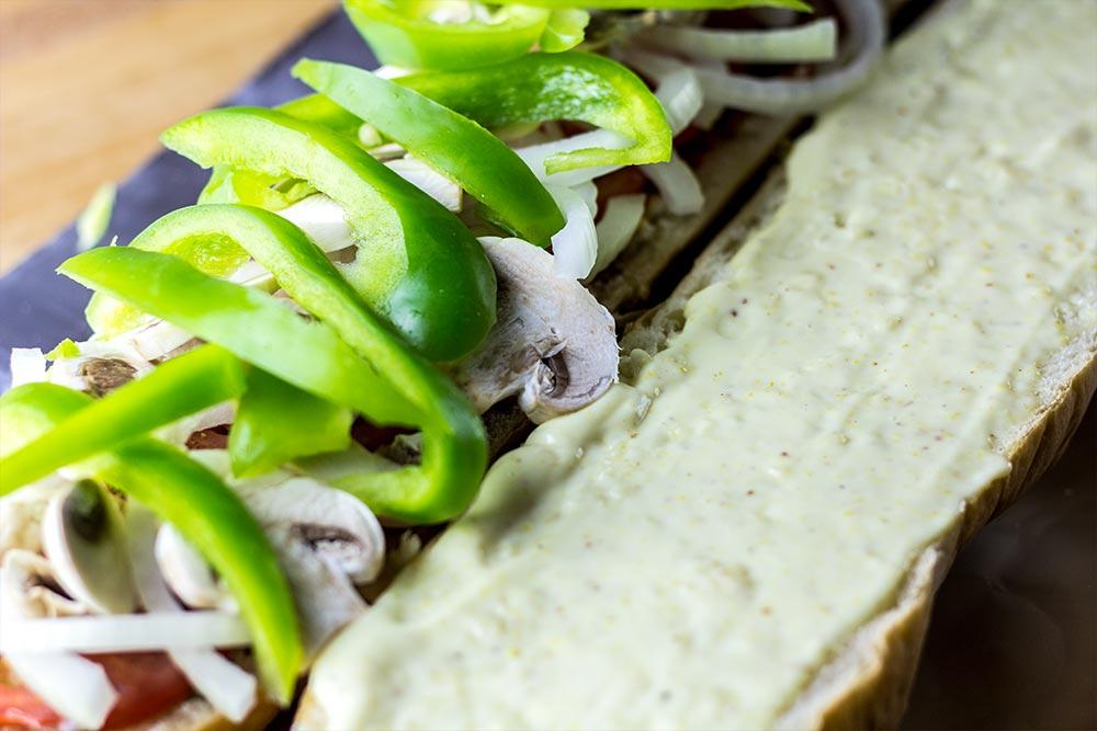 Adding Green Bell Pepper to Sandwich