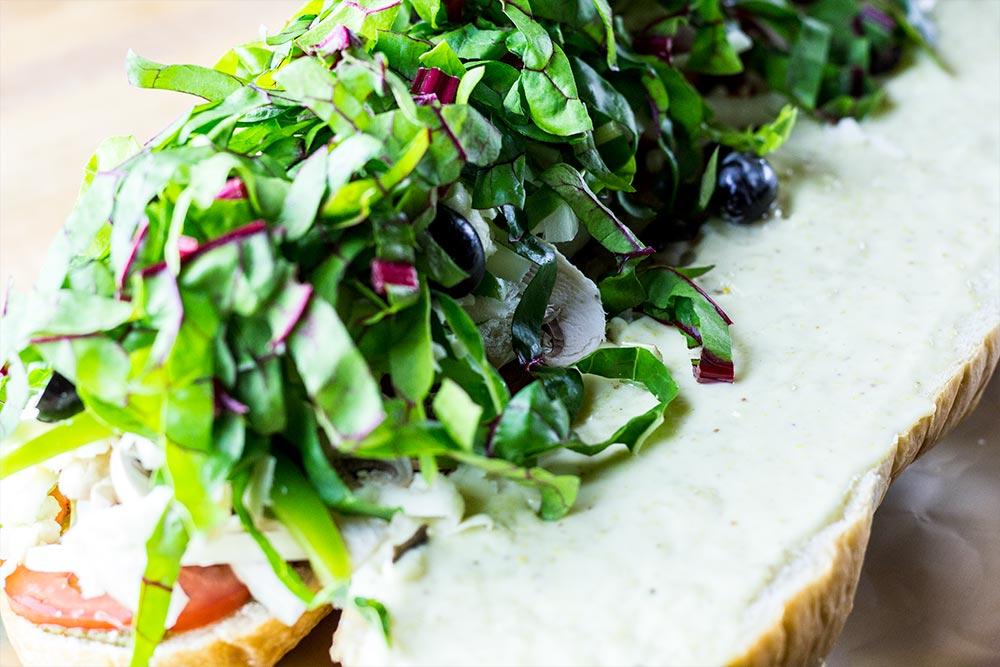 Adding Swish Chard to Sandwich