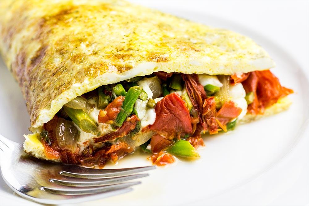 Asparagus, Sun-Dried Tomato & Queso Fresco Omelet Recipe