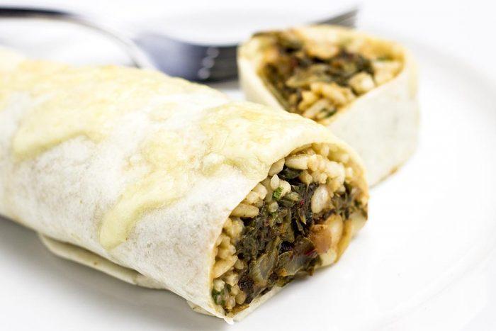 Baked Pinto Bean, Swiss Chard & Garlic Burrito Recipe