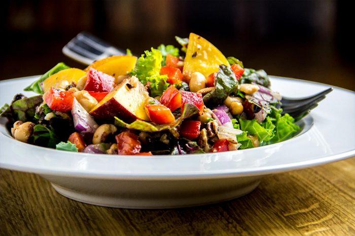 Black Eyed Peas with Peaches, Pecans & Feta Salad Recipe