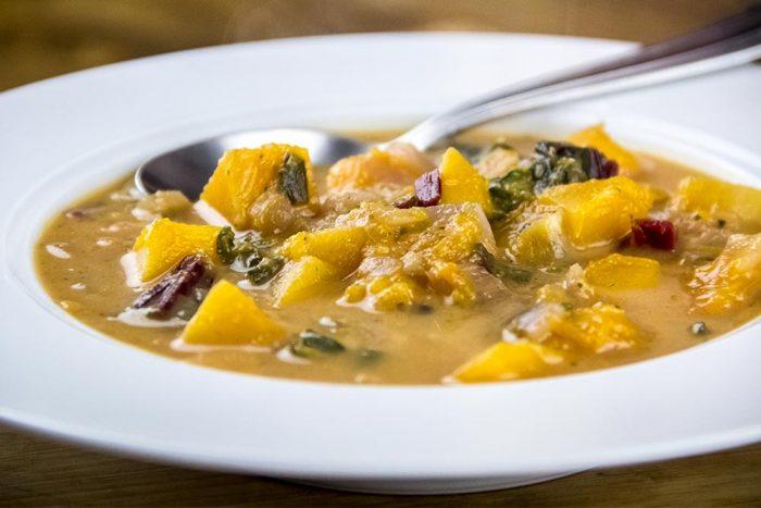 Butternut Squash, Beet Greens & Coconut Garlic Soup Recipe