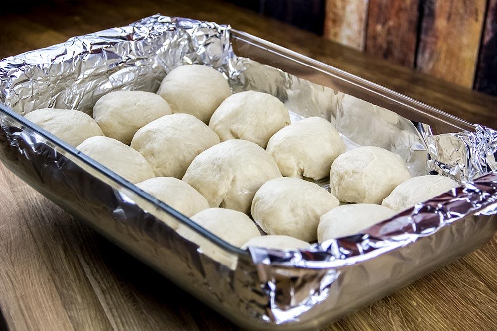 Dough Balls in Foil Lined Casserole Dish