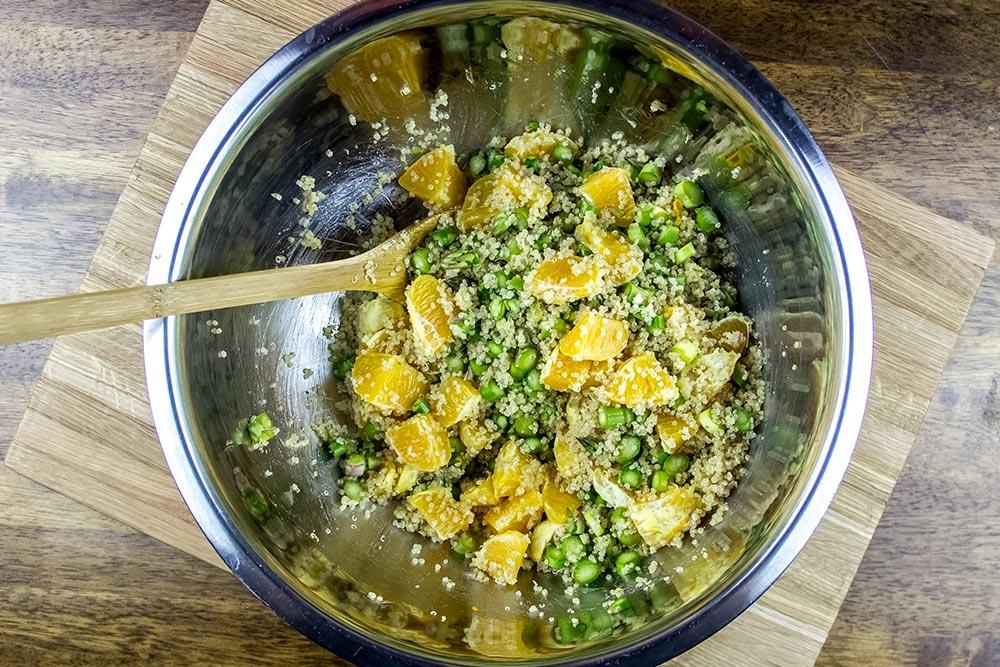 Quinoa, Asparagus and Orange Salad in Large Bowl