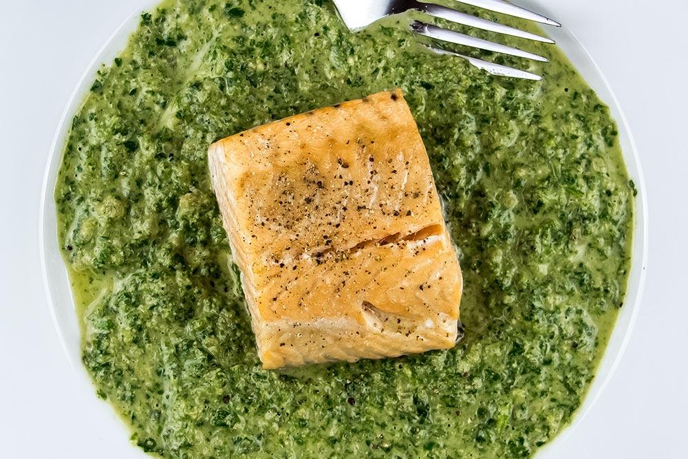 Roasted Salmon in Watercress Sauce