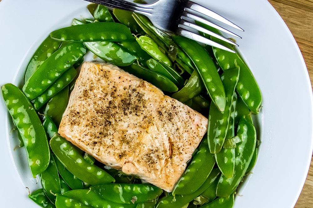 Fried Salmon and Snow Peas Dinner