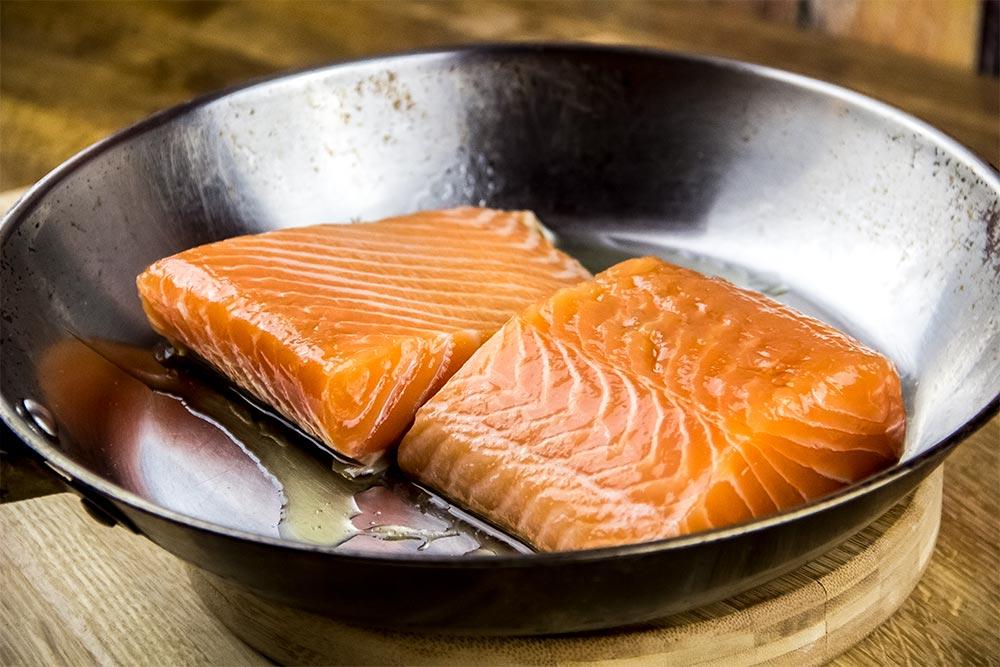 Salmon in Frying Pan
