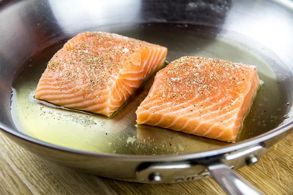 Seasoned Salmon in Large Skillet