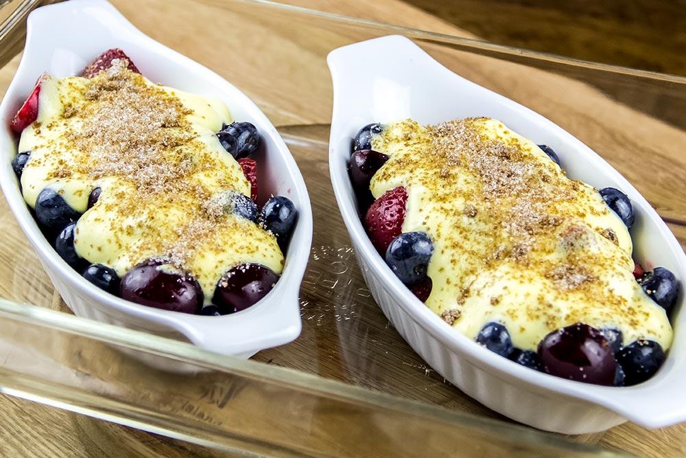 Fruit Zabaglione in Gratin Dishes