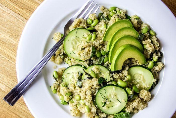 Quinoa Salad with Edamame, Basil, Mint, Dill & Avocado Salad Recipe