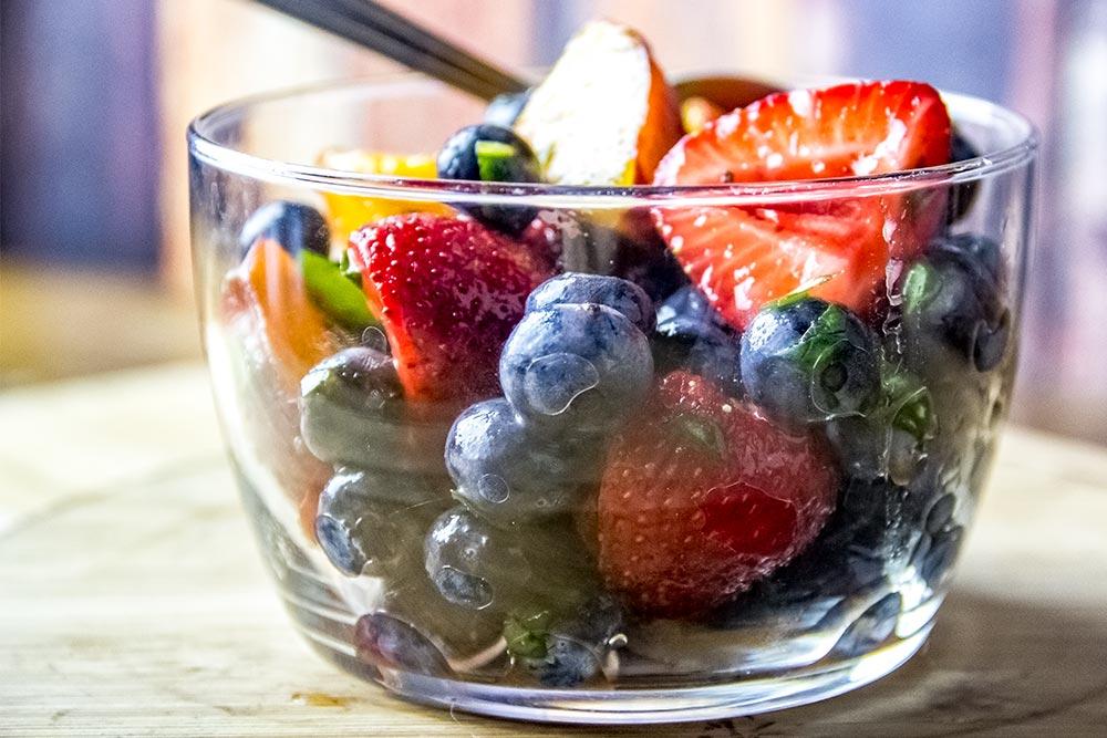 Peaches, Blueberries & Strawberries