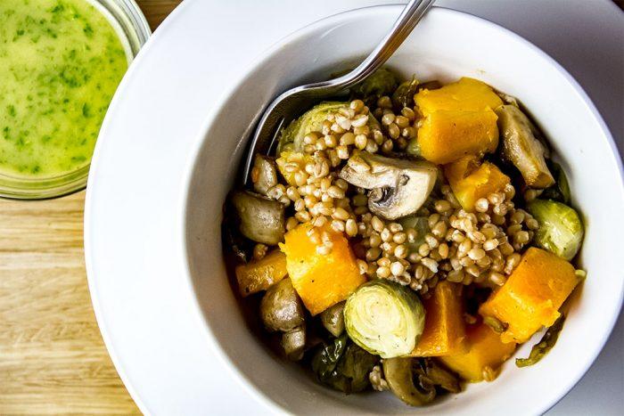 Brussels Sprouts, Butternut Squash & Mushroom Veggie Bowl Recipe