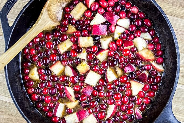 Adding Liquid to Cranberry Chutney Ingredients