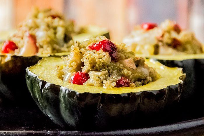Stuffed Acorn Squash with Cranberries, Mushrooms & Quinoa Recipe