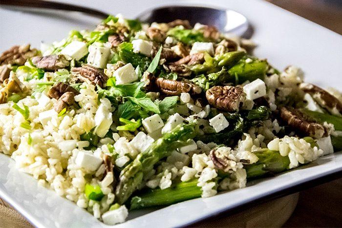 Asparagus Salad with Brown Rice, Feta Cheese & Lemon Recipe