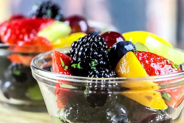 Strawberries, Blueberries & Peaches in Sparkling Wine Dessert Recipe