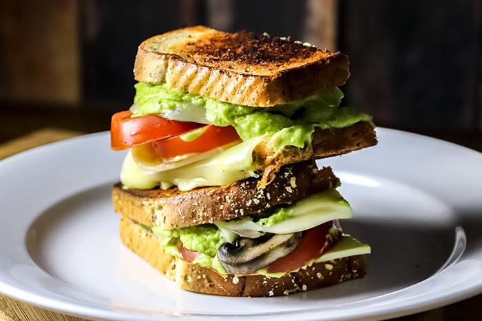 Avocado, Tomato & Mushroom Grilled Cheese Sandwich Recipe