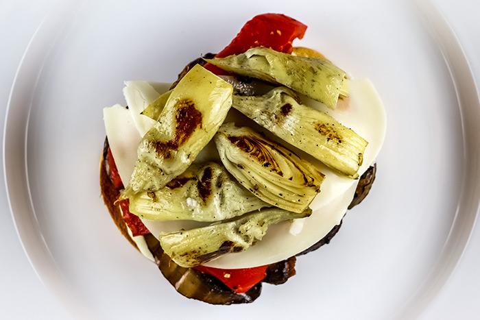 Open Portobello & Artichoke Sandwich