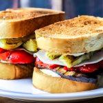 Portobello with Roasted Red Peppers & Artichoke Sandwich Recipe