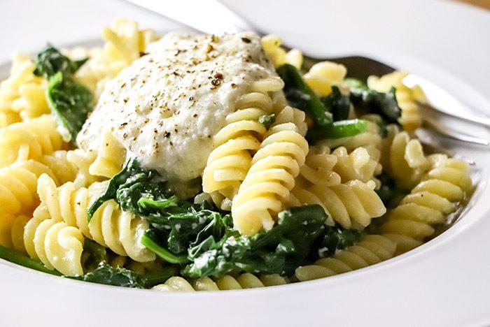 Fusilli Pasta with Ricotta, Lemon & Spinach Recipe