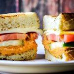 Roasted Red Pepper Hummus & Muenster Cheese Sandwich Recipe