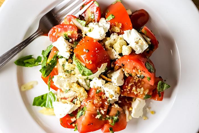 Salad with Tomatoes, Basil & Feta Cheese