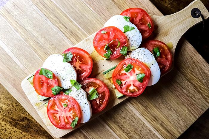 Sliced Tomatoes, Mozzarella & Zucchini