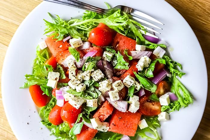 Watermelon, Tomato & Feta Cheese Salad Recipe