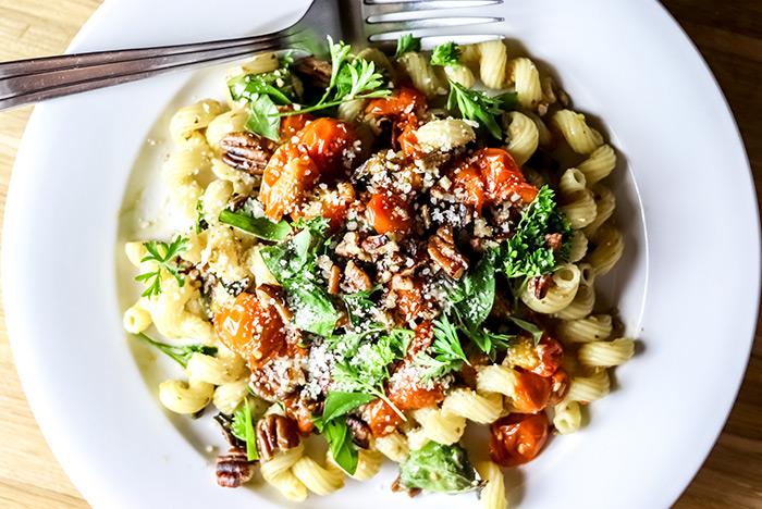 Cavatappi Pasta with Roasted Tomatoes, Garlic & Basil Recipe