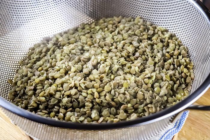 Green Lentil in Colander