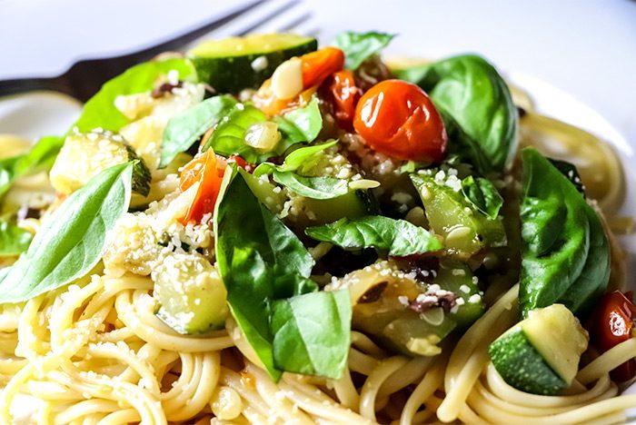 Spaghetti with Zucchini, Cherry Tomatoes & Basil Recipe