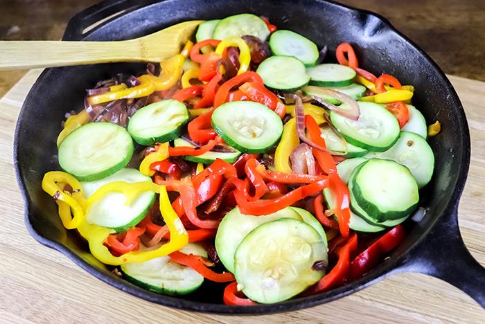 Added Zucchini & Garlic to Cast Iron Skillet