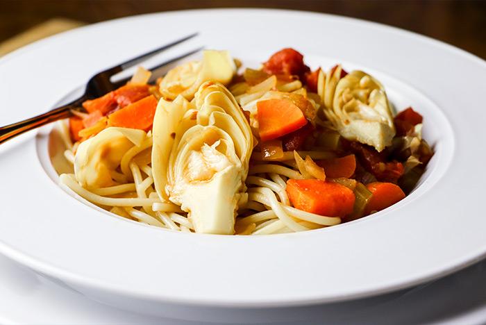 Spaghetti, Artichokes & Vegetables
