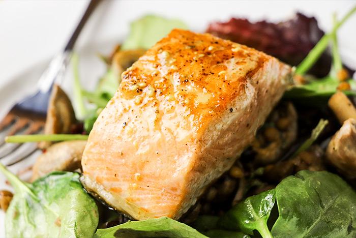 Garlic Mushroom & Lentil Pan Fried Salmon Recipe by Gordon Ramsay