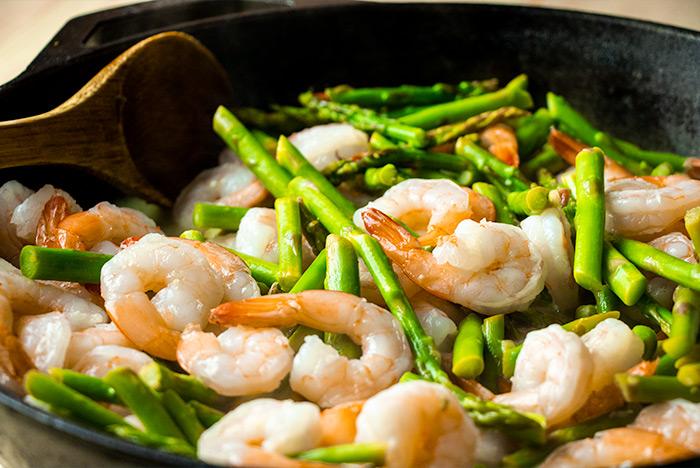 Asparagus & Shrimp in Skillet